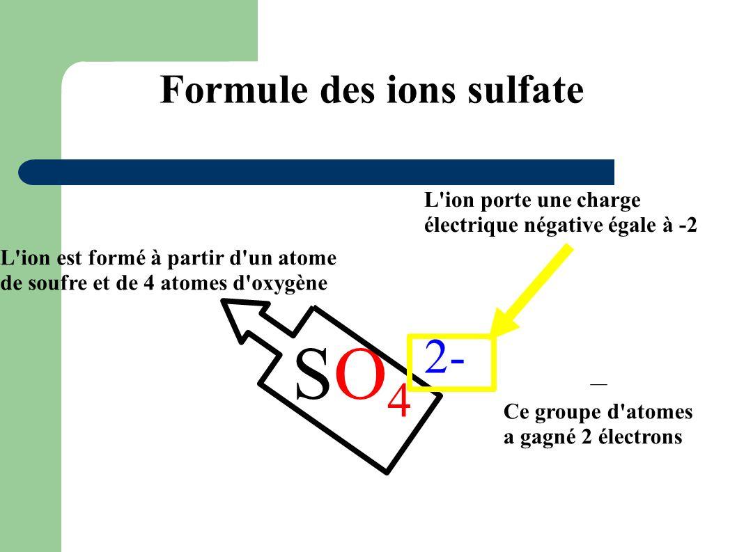 Formule des ions sulfate