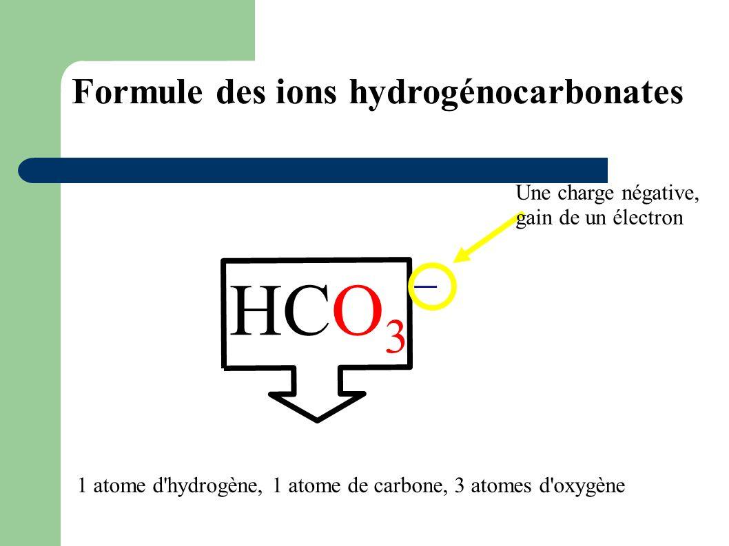 HCO3 _ Formule des ions hydrogénocarbonates