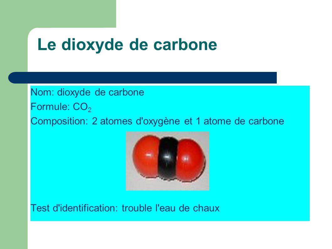Le dioxyde de carbone Nom: dioxyde de carbone Formule: CO2