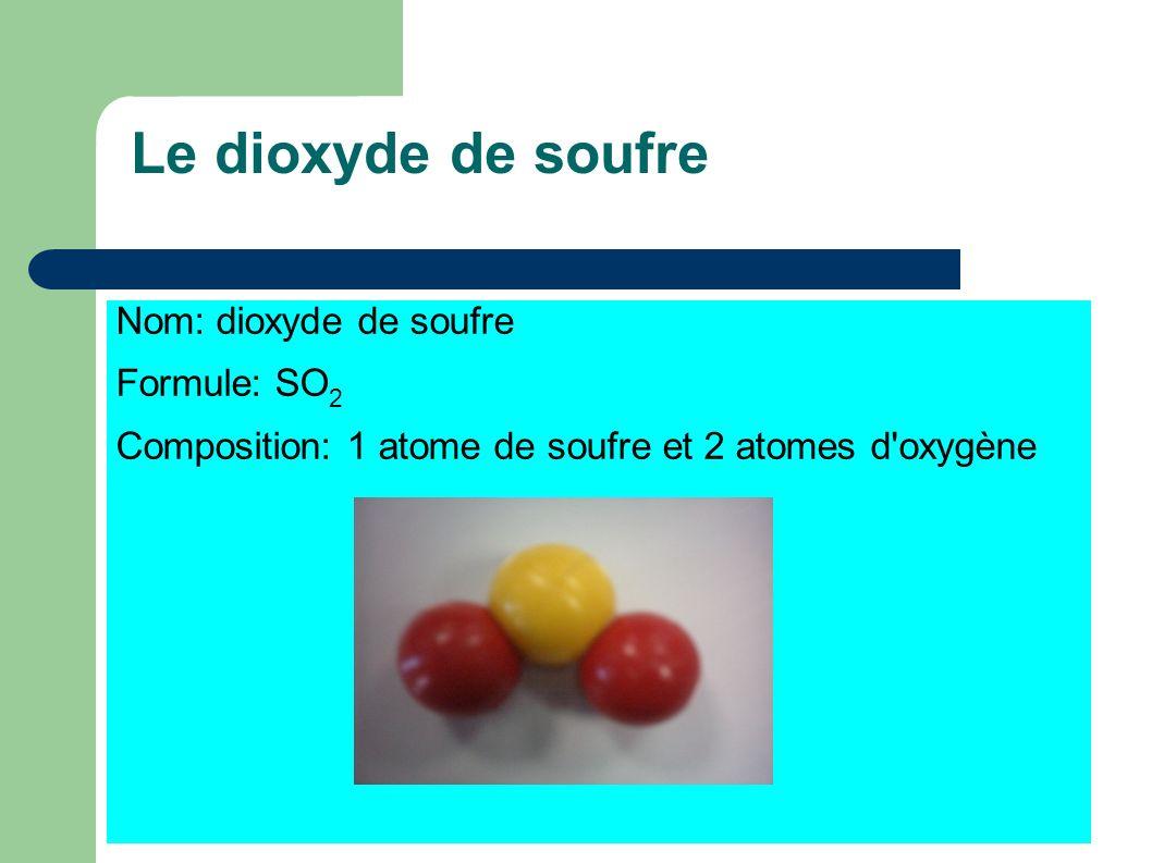 Le dioxyde de soufre Nom: dioxyde de soufre Formule: SO2