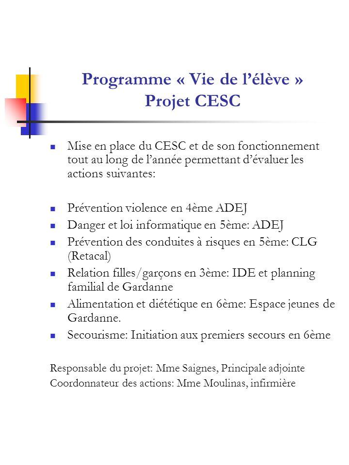Programme « Vie de l'élève » Projet CESC