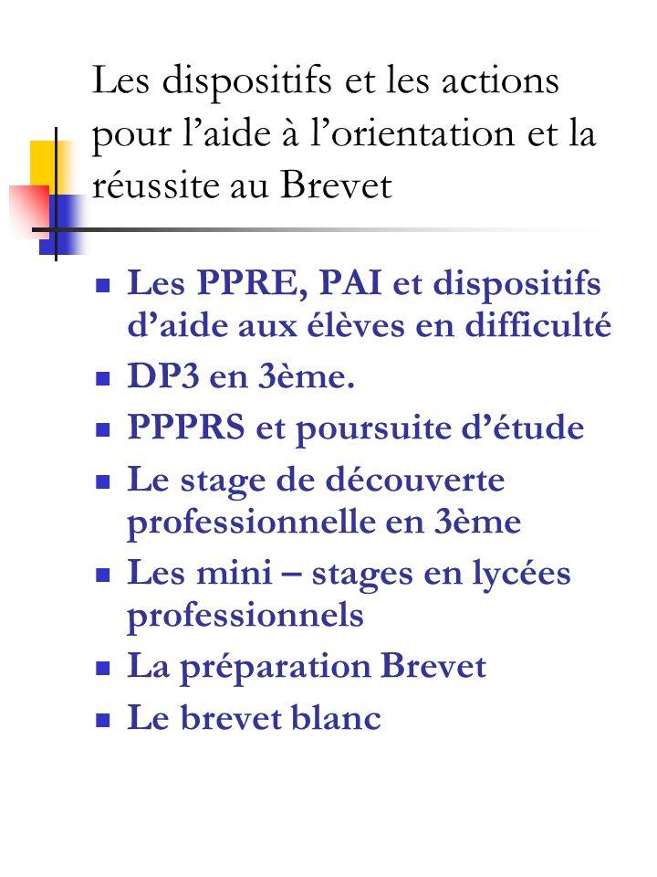 Les dispositifs et les actions pour l'aide à l'orientation et la réussite au Brevet