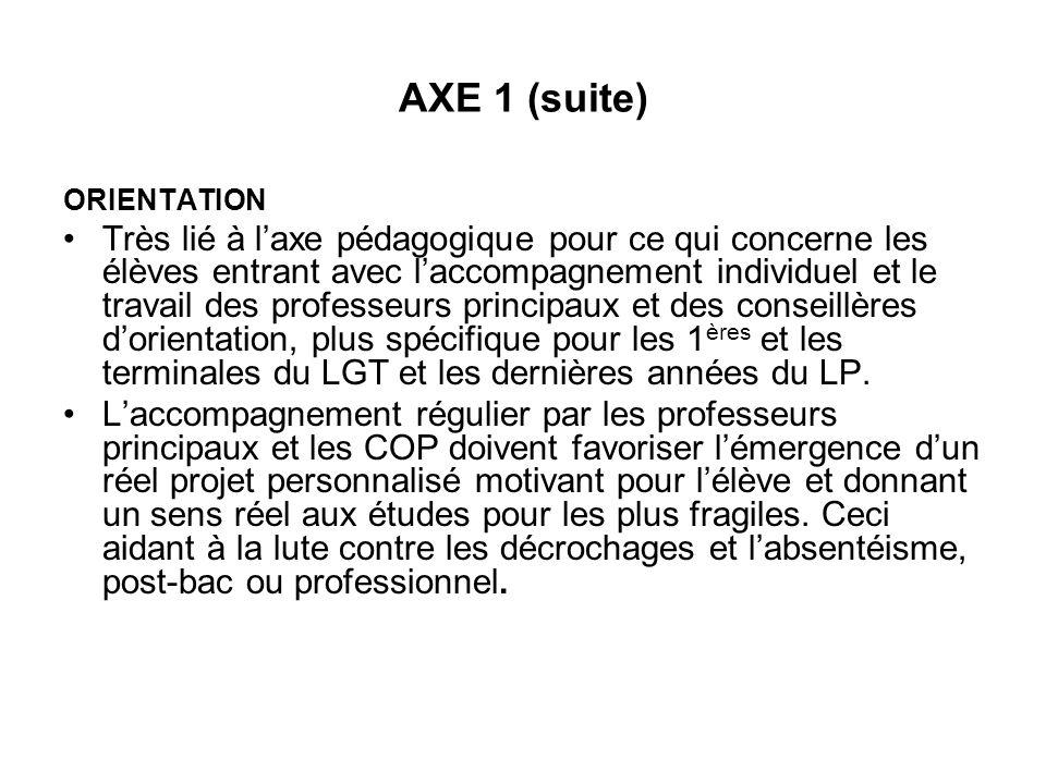 AXE 1 (suite) ORIENTATION.