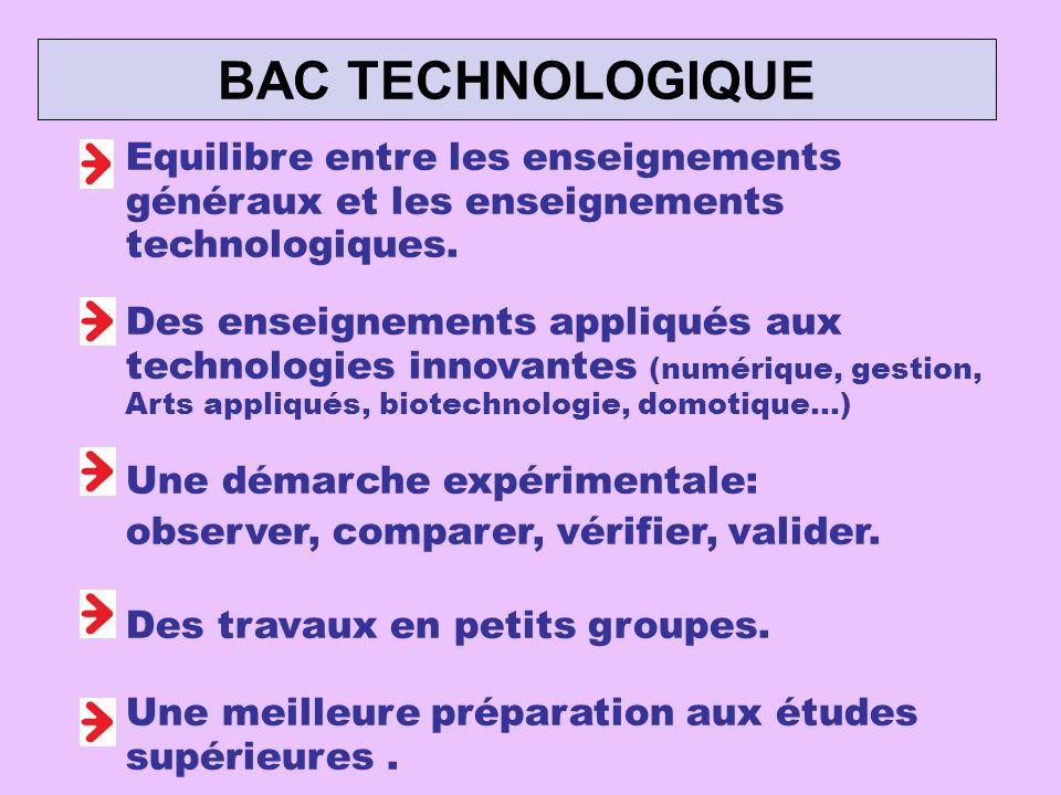 BAC TECHNOLOGIQUE Equilibre entre les enseignements généraux et les enseignements technologiques.