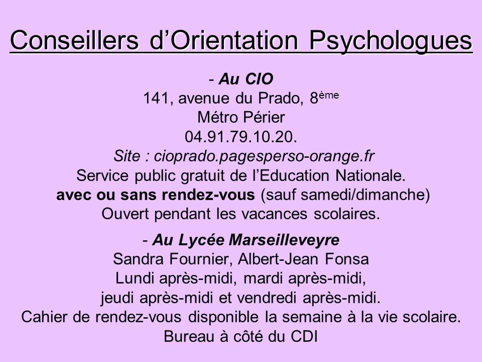 Conseillers d'Orientation Psychologues - Au CIO 141, avenue du Prado, 8ème Métro Périer 04.91.79.10.20.