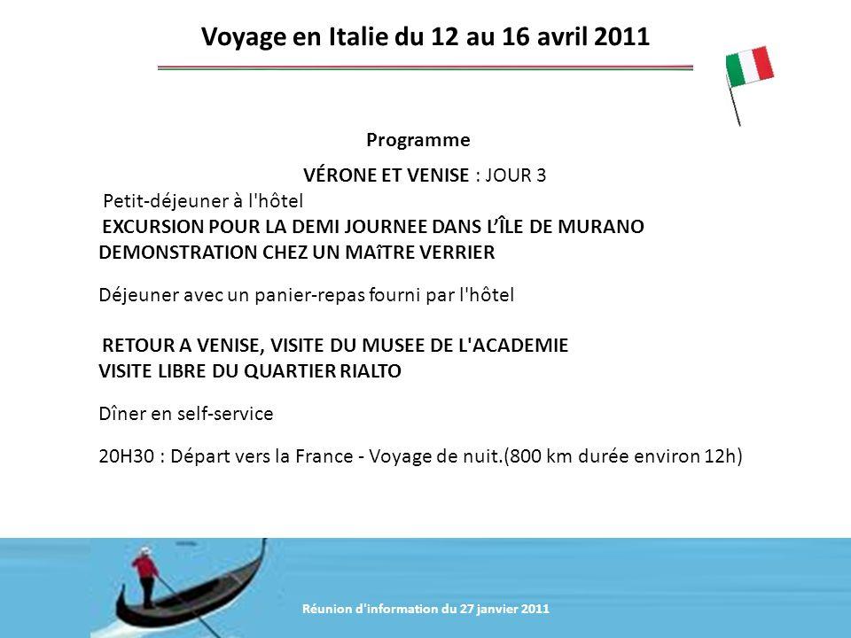 Voyage en Italie du 12 au 16 avril 2011