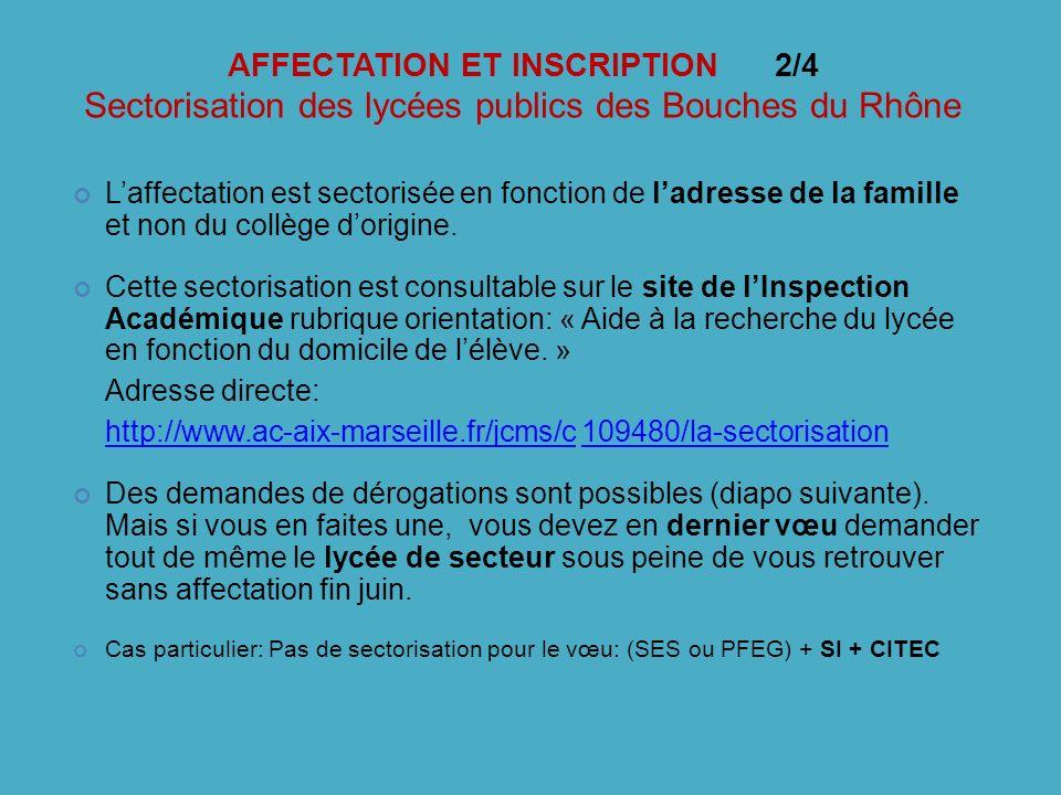 AFFECTATION ET INSCRIPTION 2/4 Sectorisation des lycées publics des Bouches du Rhône
