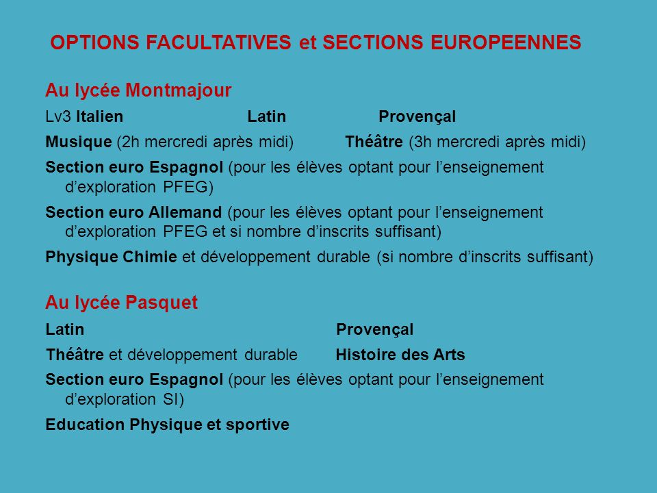 OPTIONS FACULTATIVES et SECTIONS EUROPEENNES