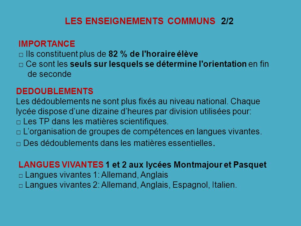 LES ENSEIGNEMENTS COMMUNS 2/2