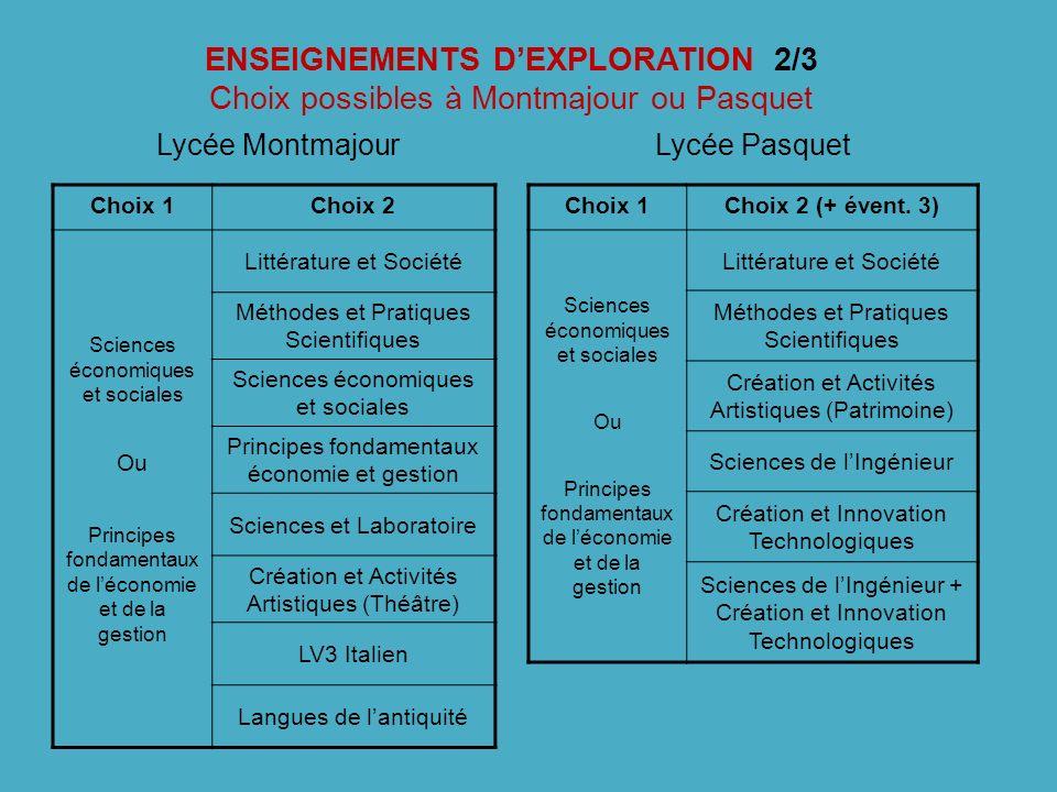 ENSEIGNEMENTS D'EXPLORATION 2/3 Choix possibles à Montmajour ou Pasquet