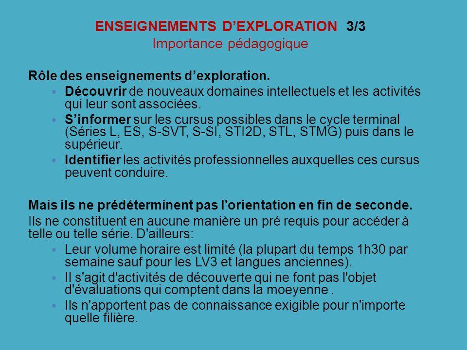 ENSEIGNEMENTS D'EXPLORATION 3/3 Importance pédagogique