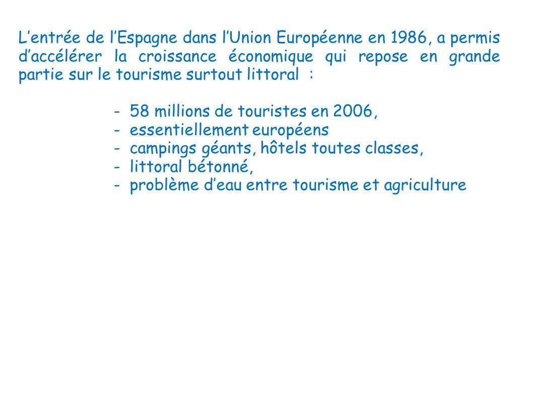 L'entrée de l'Espagne dans l'Union Européenne en 1986, a permis d'accélérer la croissance économique qui repose en grande partie sur le tourisme surtout littoral :