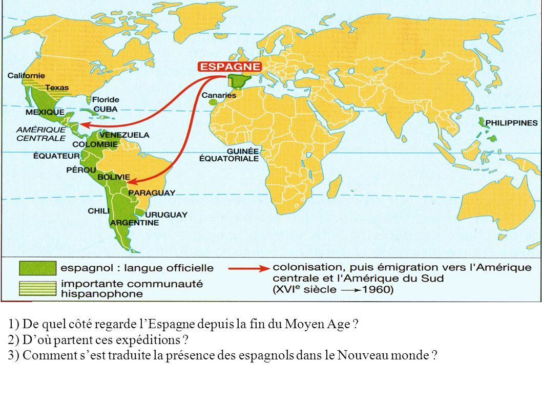 1) De quel côté regarde l'Espagne depuis la fin du Moyen Age