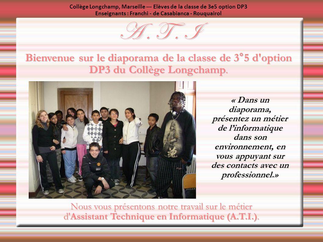 Collège Longchamp, Marseille --- Elèves de la classe de 3e5 option DP3