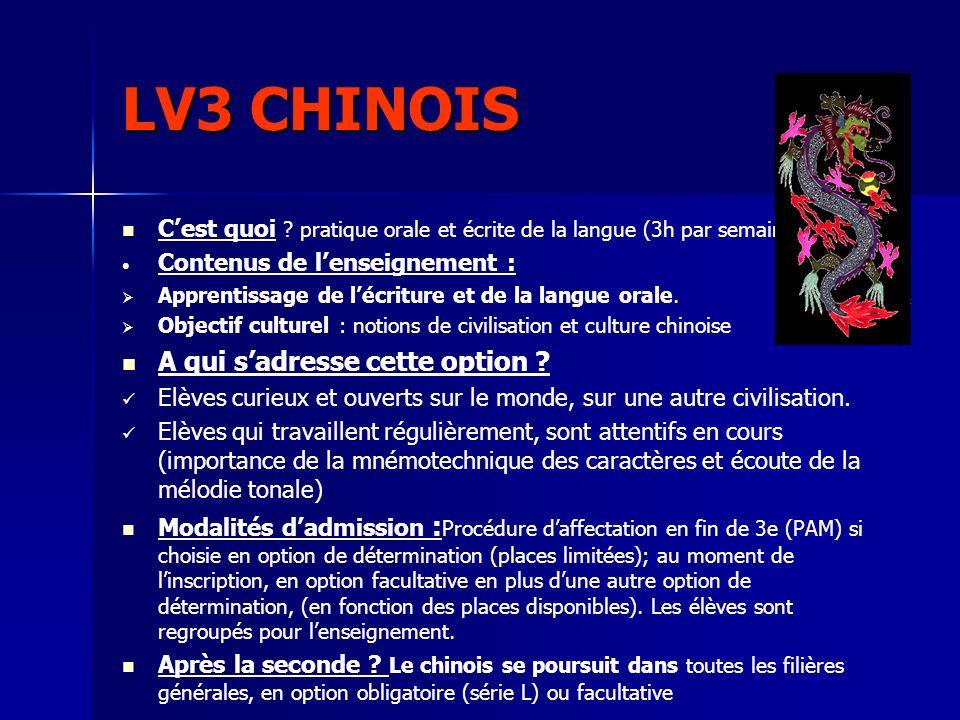 LV3 CHINOIS A qui s'adresse cette option