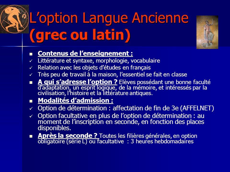 L'option Langue Ancienne (grec ou latin)