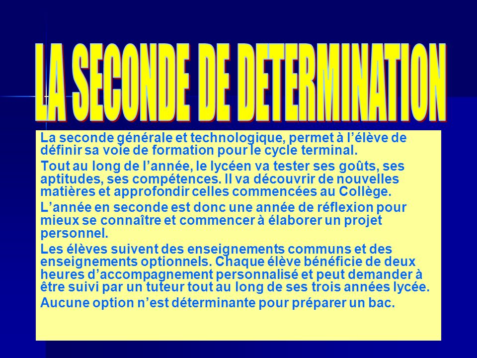 LA SECONDE DE DETERMINATION