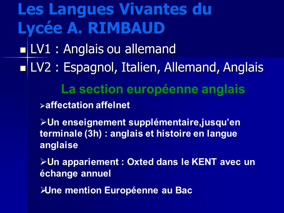 Les Langues Vivantes du Lycée A. RIMBAUD