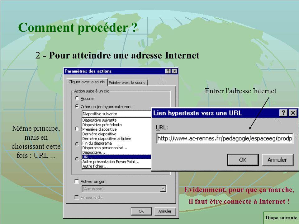 Evidemment, pour que ça marche, il faut être connecté à Internet !