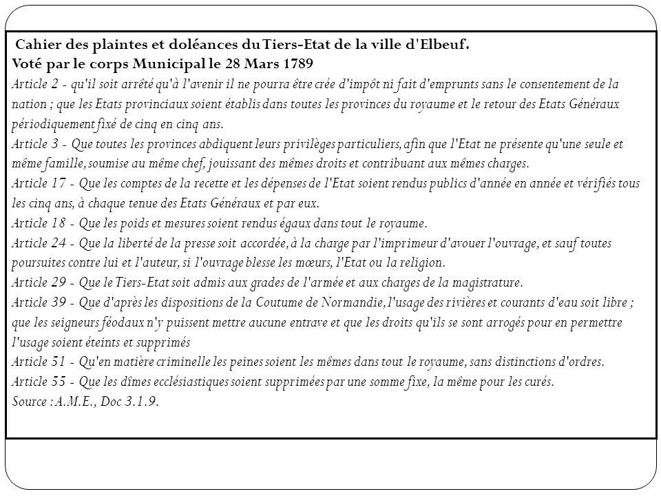 Cahier des plaintes et doléances du Tiers-Etat de la ville d Elbeuf