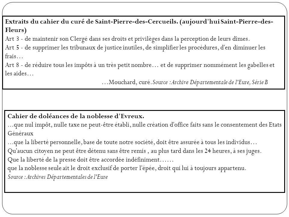 Extraits du cahier du curé de Saint-Pierre-des-Cercueils