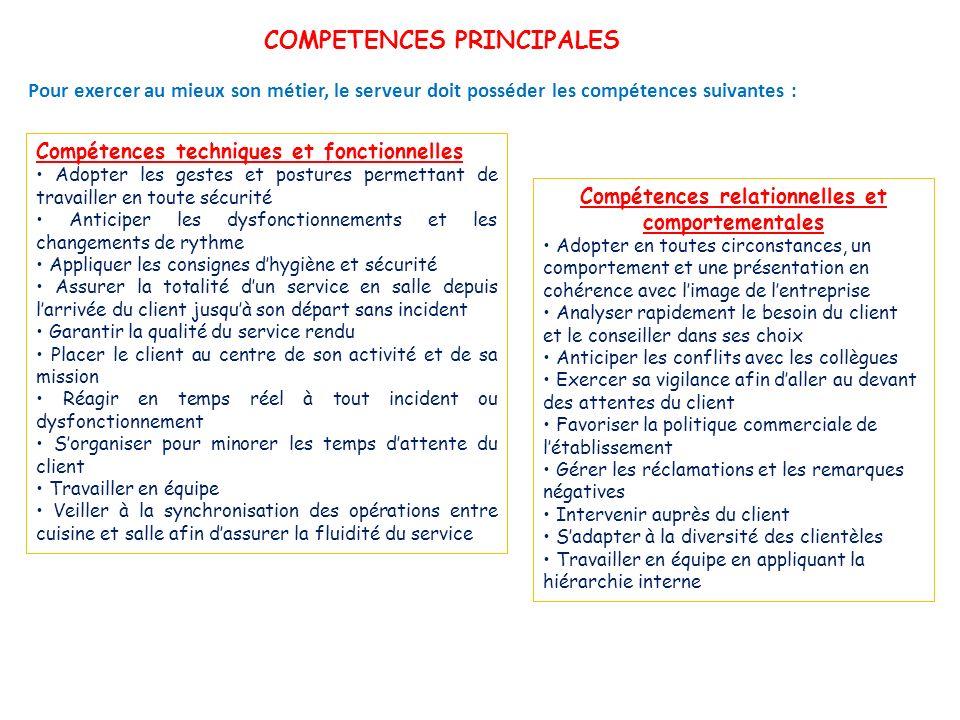 COMPETENCES PRINCIPALES Compétences relationnelles et comportementales