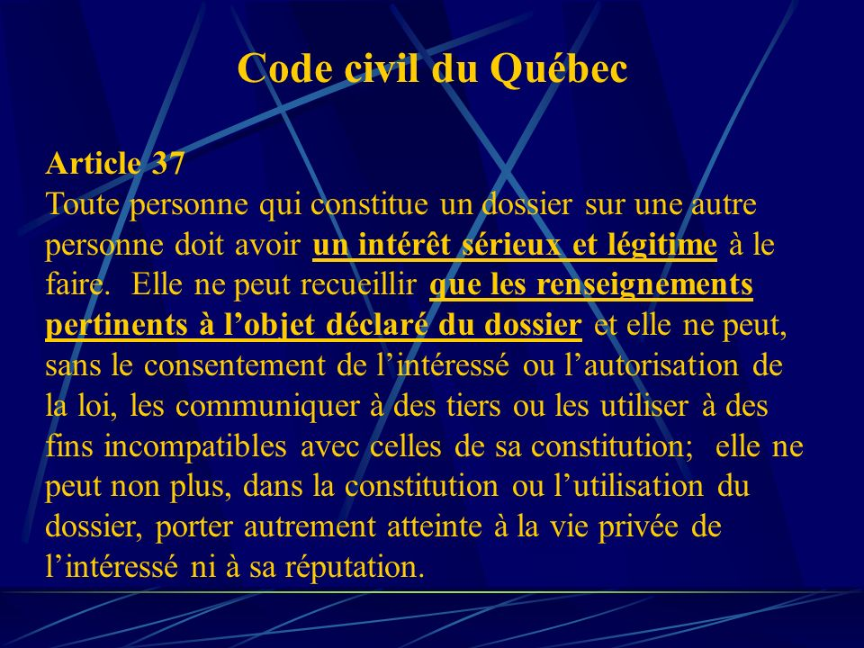 Code civil du Québec Article 37