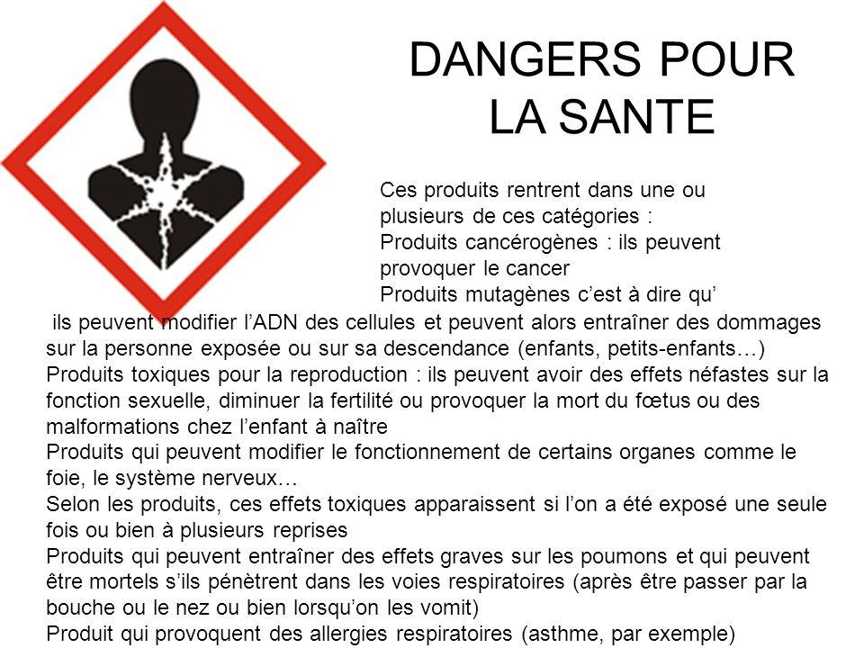 DANGERS POUR LA SANTE Ces produits rentrent dans une ou plusieurs de ces catégories : Produits cancérogènes : ils peuvent provoquer le cancer.