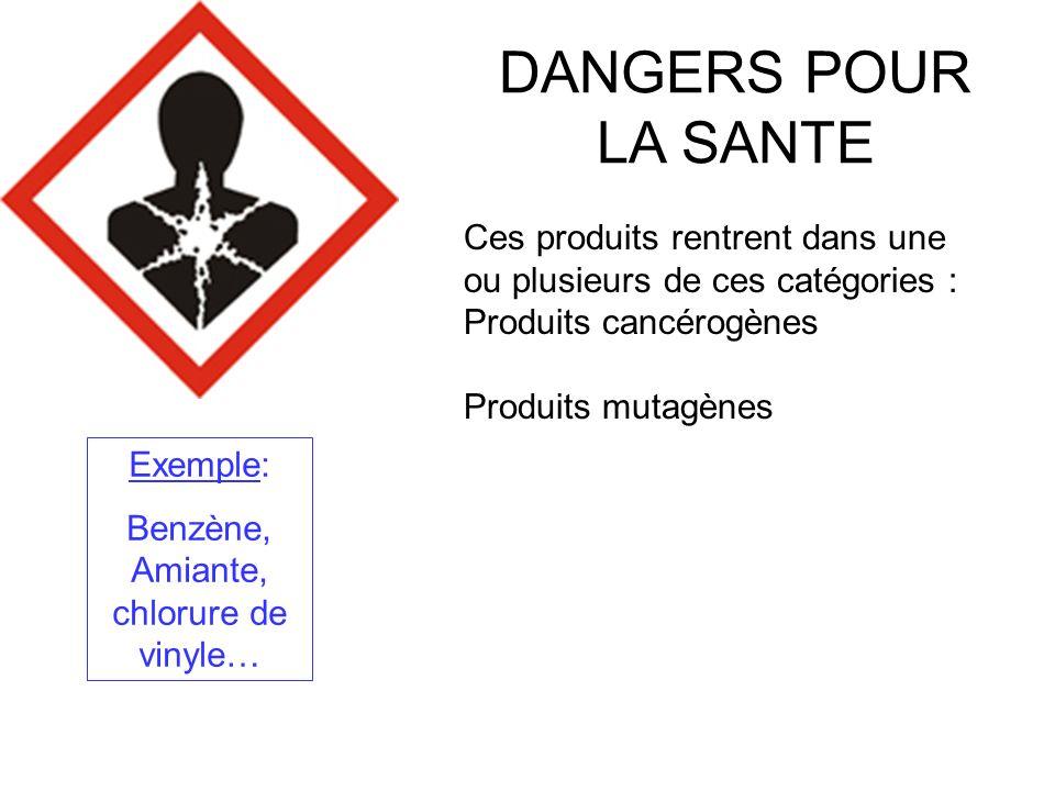 Benzène, Amiante, chlorure de vinyle…