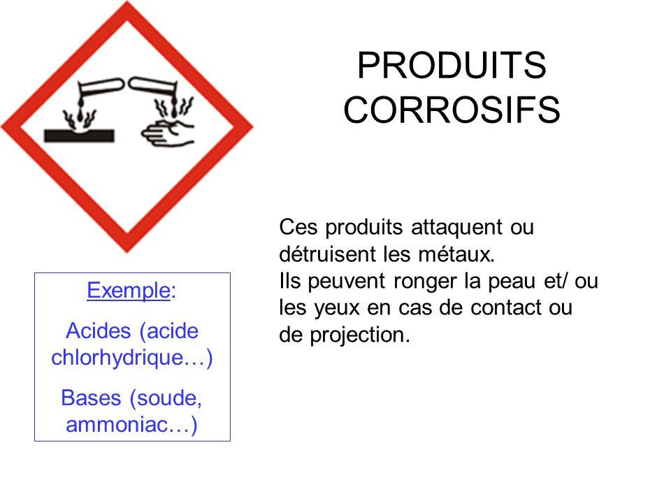 PRODUITS CORROSIFS Ces produits attaquent ou détruisent les métaux.
