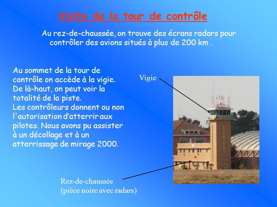 Visite de la tour de contrôle Au rez-de-chaussée, on trouve des écrans radars pour contrôler des avions situés à plus de 200 km .