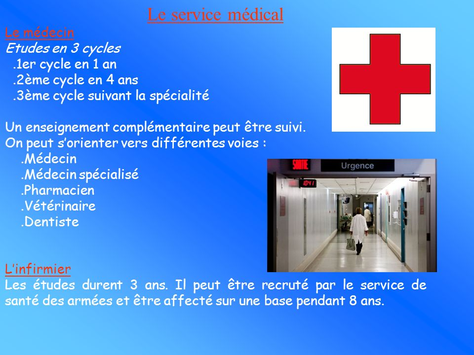 Le service médical Le médecin Etudes en 3 cycles .1er cycle en 1 an