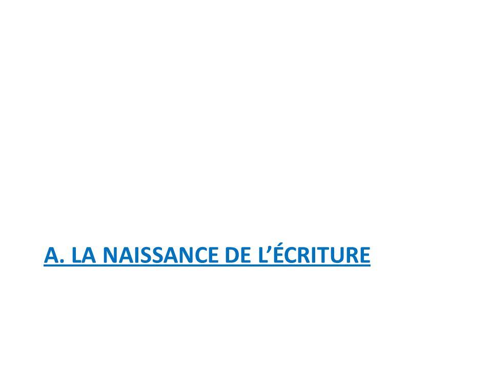 A. LA NAISSANCE DE L'ÉCRITURE