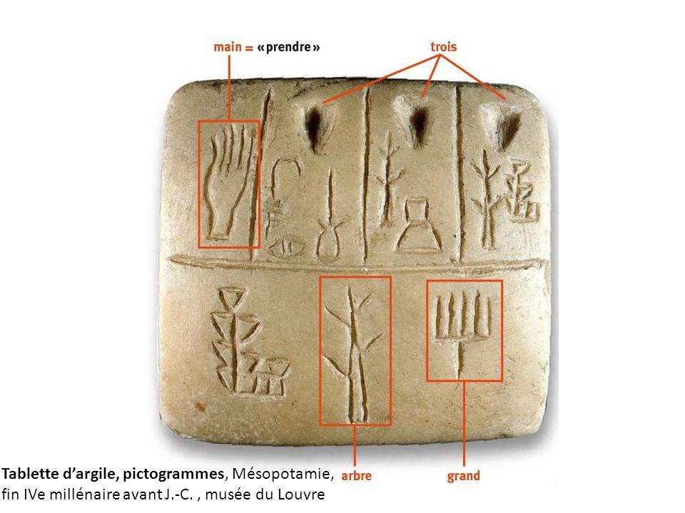 Tablette d'argile, pictogrammes, Mésopotamie, fin IVe millénaire avant J.-C. , musée du Louvre