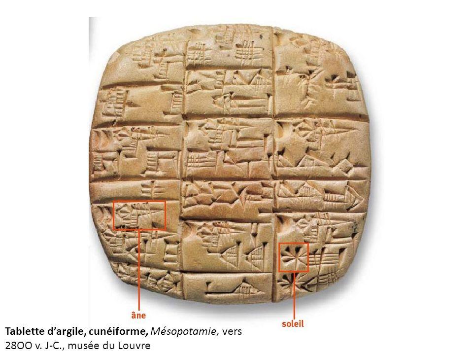Tablette d'argile, cunéiforme, Mésopotamie, vers 28OO v. J-C