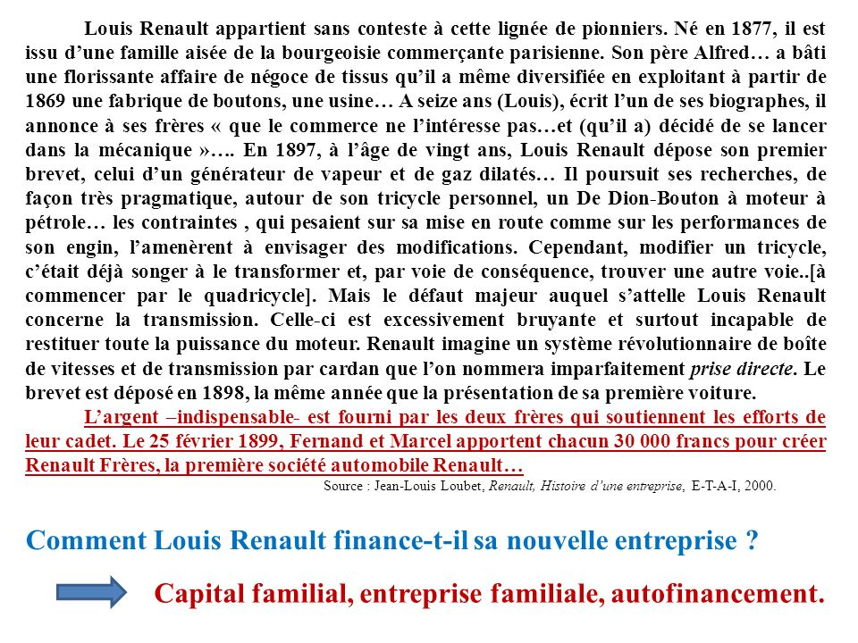 Comment Louis Renault finance-t-il sa nouvelle entreprise