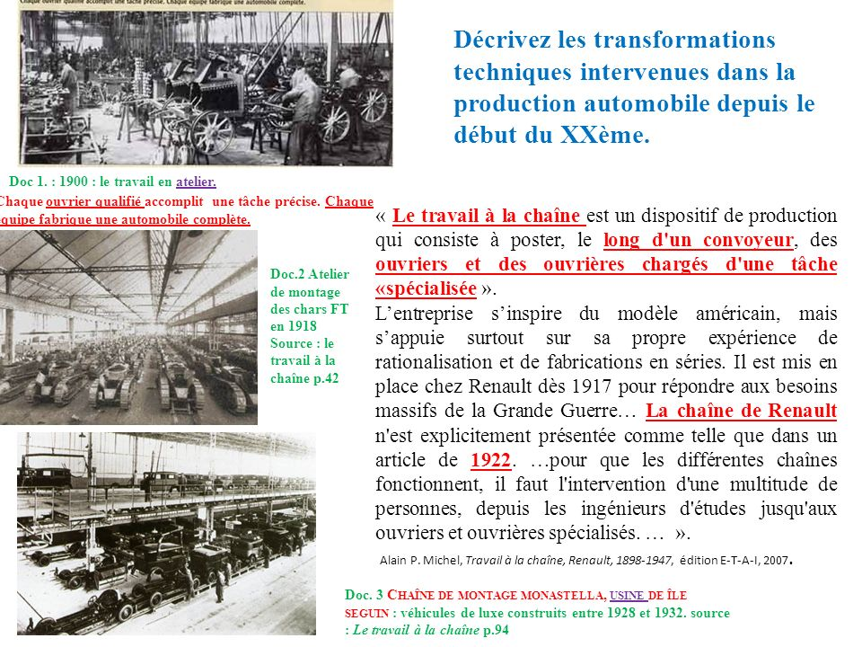 Décrivez les transformations techniques intervenues dans la production automobile depuis le début du XXème.