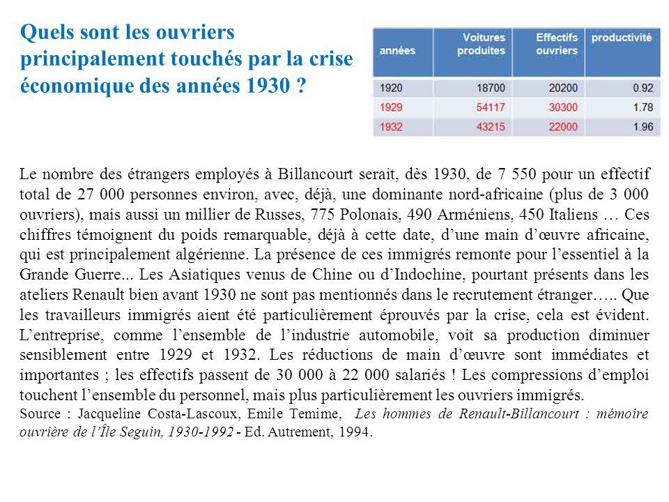 Quels sont les ouvriers principalement touchés par la crise économique des années 1930