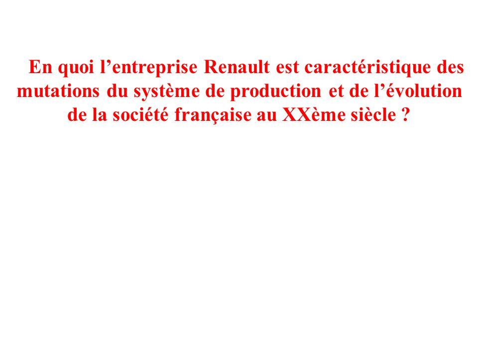 En quoi l'entreprise Renault est caractéristique des mutations du système de production et de l'évolution de la société française au XXème siècle