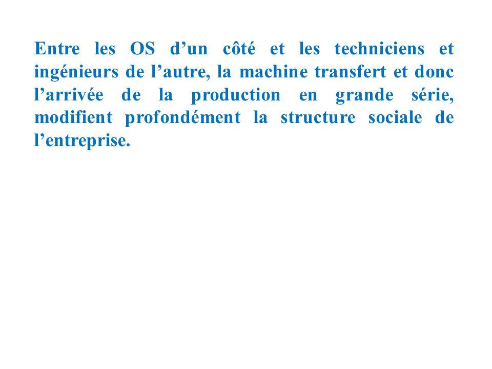 Entre les OS d'un côté et les techniciens et ingénieurs de l'autre, la machine transfert et donc l'arrivée de la production en grande série, modifient profondément la structure sociale de l'entreprise.