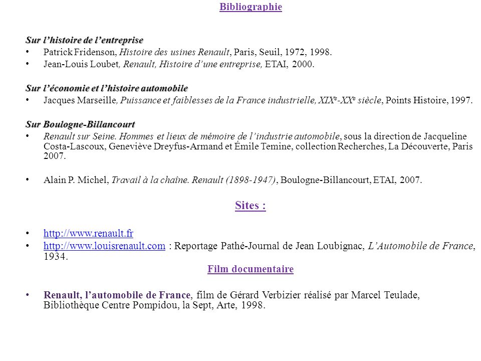 Sites : Bibliographie http://www.renault.fr