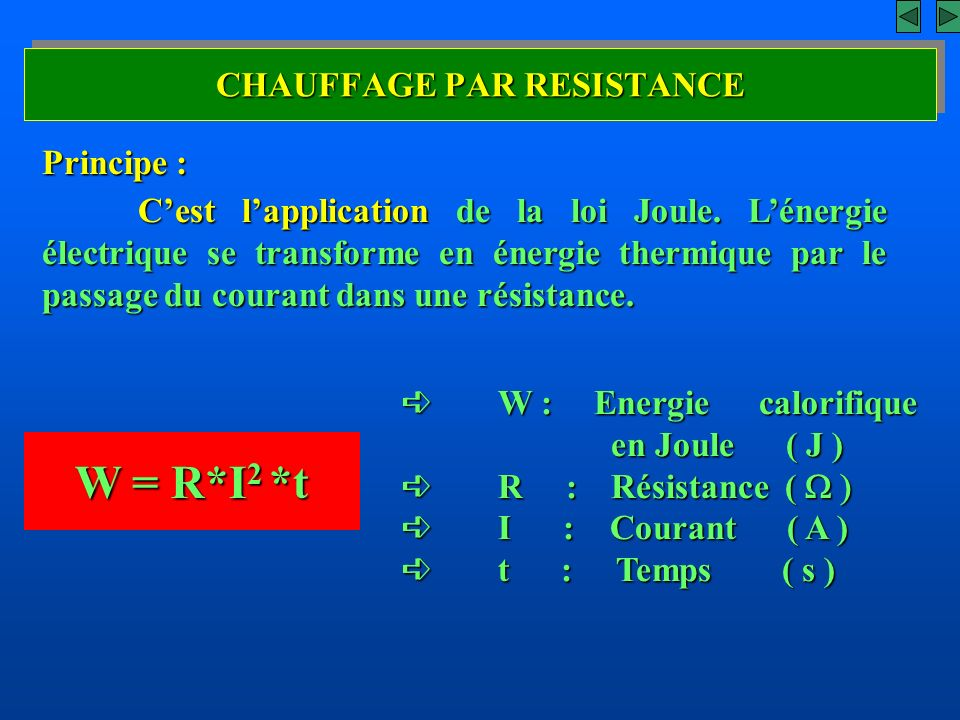 CHAUFFAGE PAR RESISTANCE