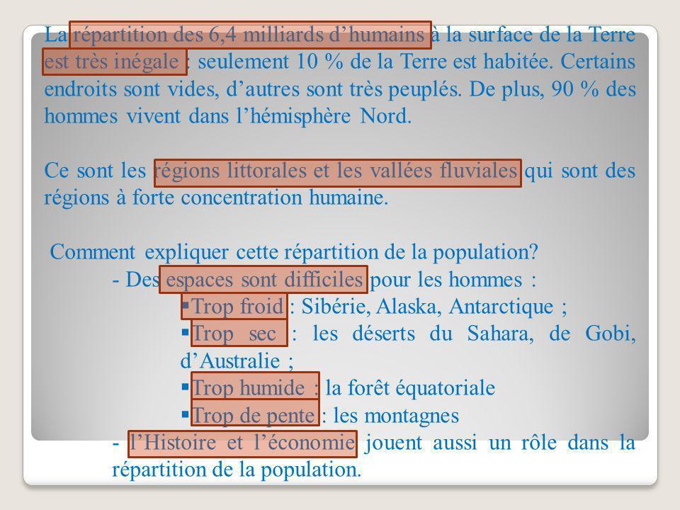 La répartition des 6,4 milliards d'humains à la surface de la Terre est très inégale : seulement 10 % de la Terre est habitée. Certains endroits sont vides, d'autres sont très peuplés. De plus, 90 % des hommes vivent dans l'hémisphère Nord.