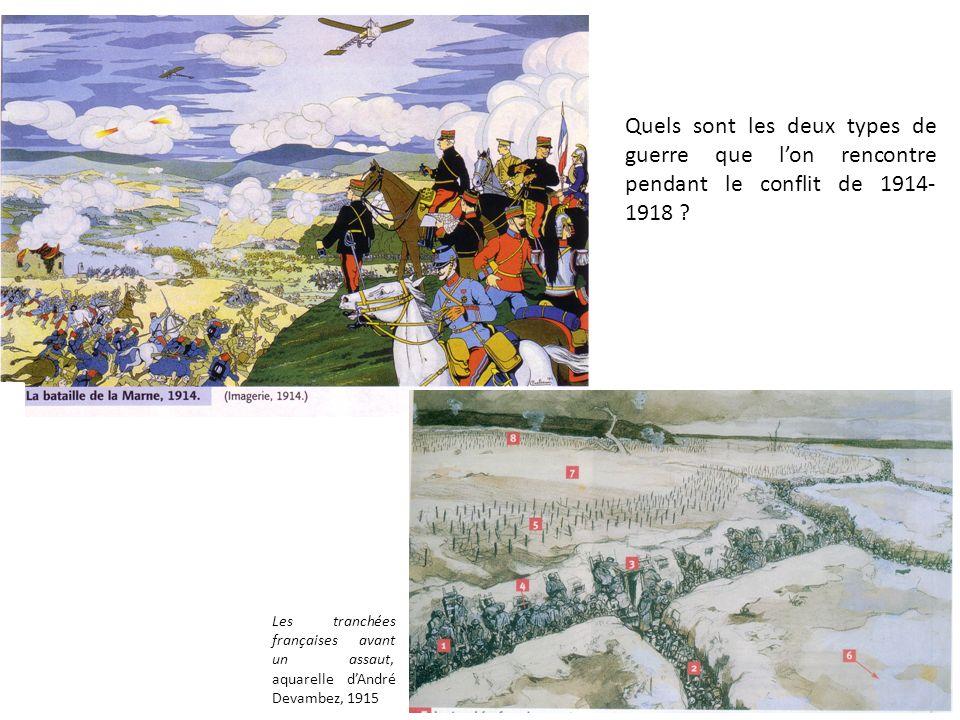 Quels sont les deux types de guerre que l'on rencontre pendant le conflit de 1914-1918