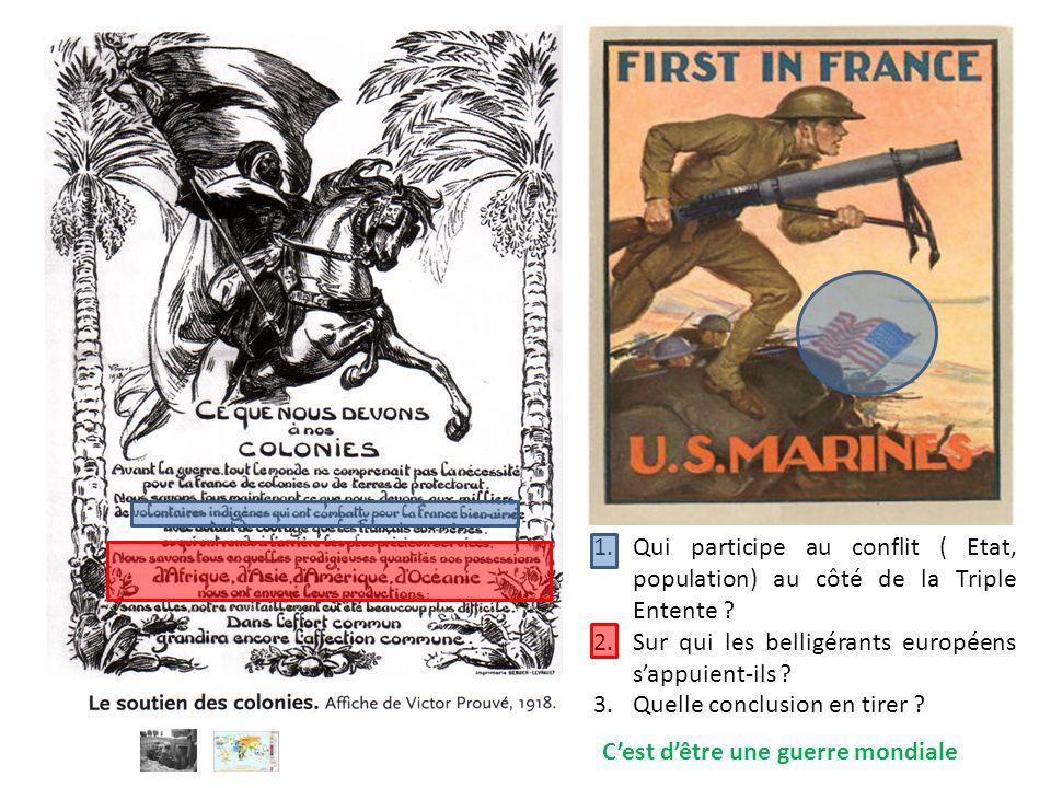 Qui participe au conflit ( Etat, population) au côté de la Triple Entente