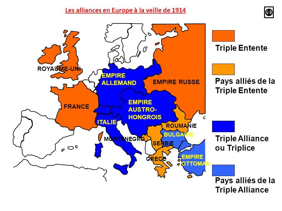 Les alliances en Europe à la veille de 1914
