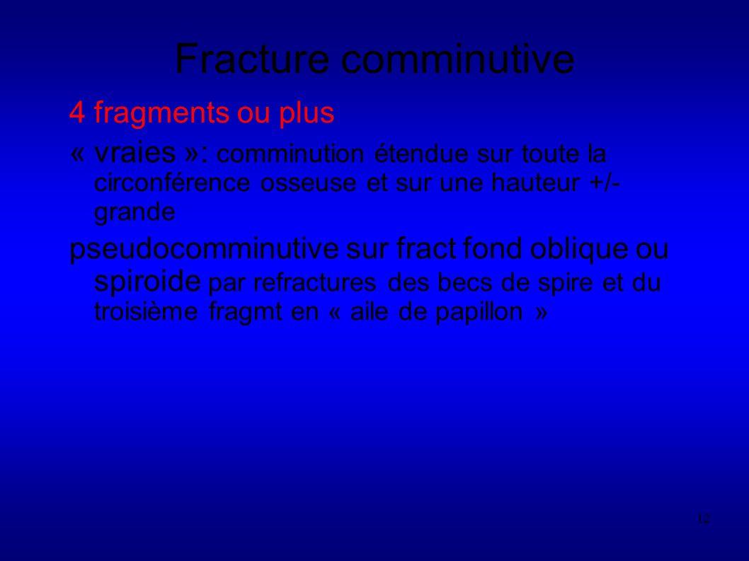 Fracture comminutive 4 fragments ou plus