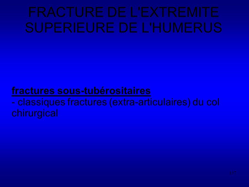 FRACTURE DE L EXTREMITE SUPERIEURE DE L HUMERUS