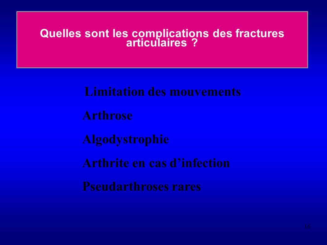 Quelles sont les complications des fractures articulaires