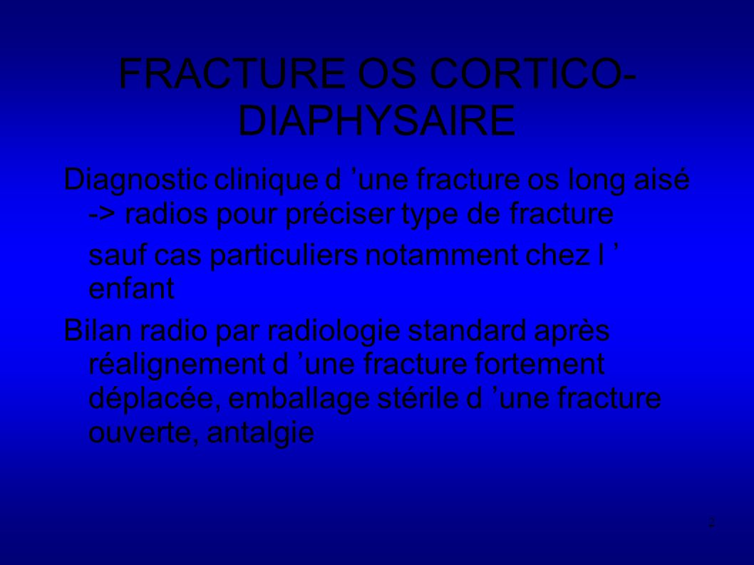 FRACTURE OS CORTICO-DIAPHYSAIRE